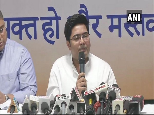 Trinamool Congress MP Abhishek Banerjee addressing media persons in Kolkata on Sunday. Photo/ANI