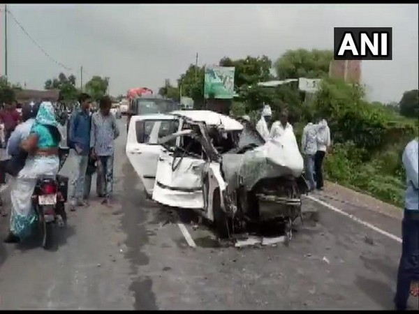 The mangled car in which Unnao rape victim was travelling along with her family members and lawyer in Raebareli on Sunday. Photo/ANI