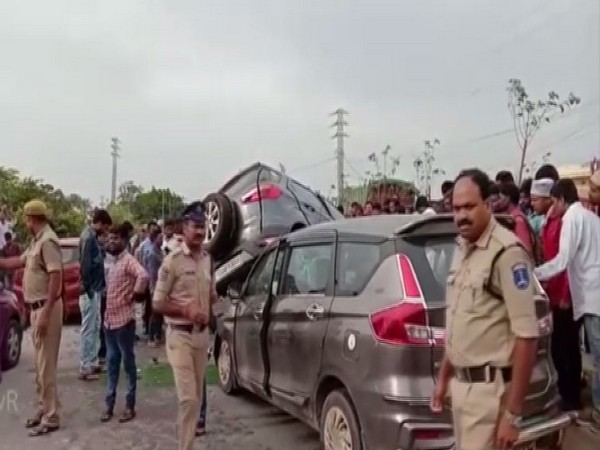 Police inspecting the accident spot