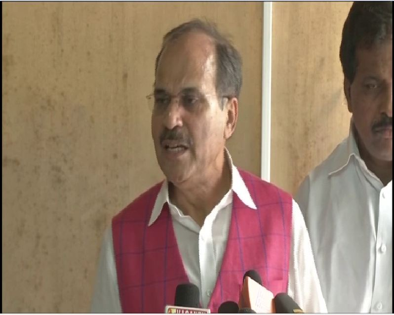LOP in the Lower House Adhir Ranjan Chaudhary speaking to reporters on Wednesday in New Delhi. Photo/ANI