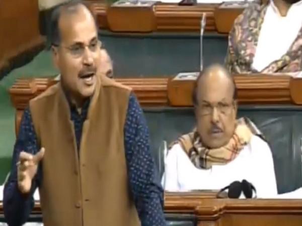 Leader of Congress in Lok Sabha, Adhir Ranjan Chowdhury in the Parliament on Tuesday. Photo/ANI
