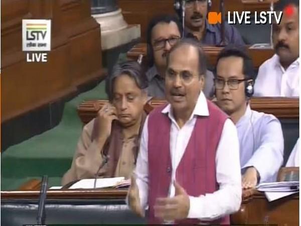 Adhir Ranjan Chowdhury in Lok Sabha on Tuesday. (Picture Courtesy: LS TV)