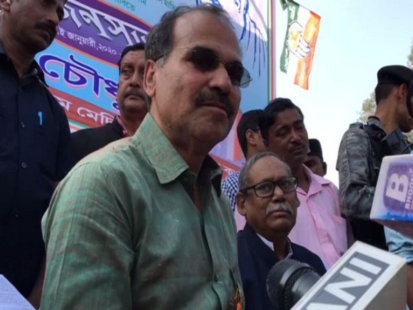 Congress leader Adhir Ranjan Chowdhury speaking to reporters in Midnapore on Friday. Photo/ANI
