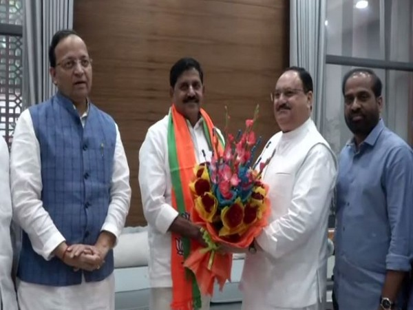 Former TDP leader Adinarayana Reddy joining BJP in presence of party's working president JP Nadda in New Delhi on Monday. Photo/ANI