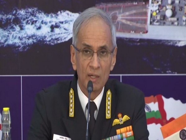 Navy Chief Admiral Karambir Singh addressing the Navy Day press conference. Photo/ANI