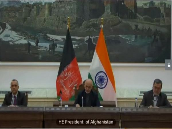 Afghanistan President Ashraf Ghani speaking at the virtual summit with India on Tuesday.