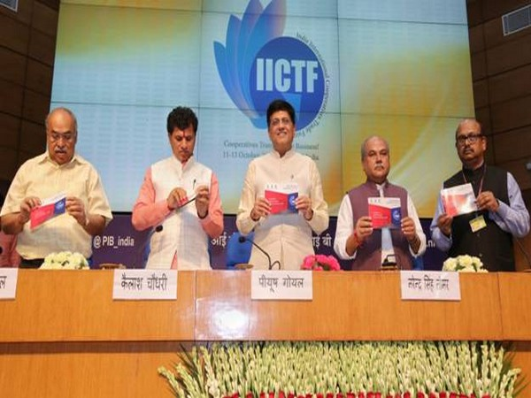 Union Minister of Commerce and Industry Piyush Goyal (centre) with Tomar and Choudhary in New Delhi on Tuesday. Photo/ANI