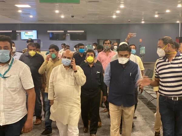 Karnataka ministers inspect preparations at Kempegowda International airport. (Picture courtesy Dr K Sudhakar Twitter)