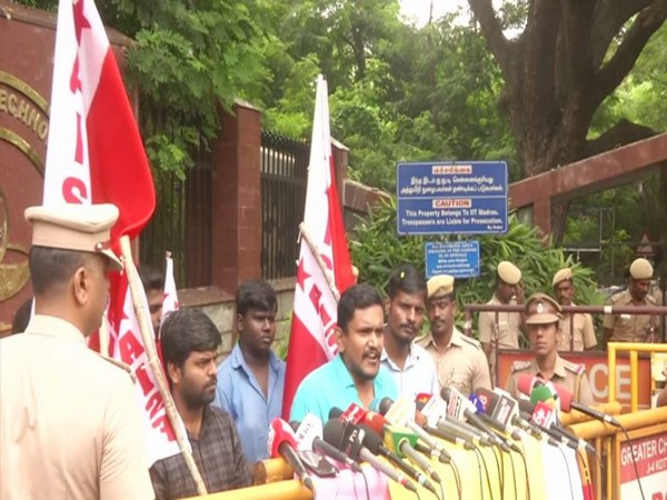 AISF members protested outside IIT Madras on Friday. Photo/ANI