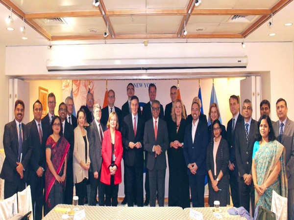 India's permanent representative to UN Syed Akbaruddin with the EU Parliament delegation in New York on Tuesday.