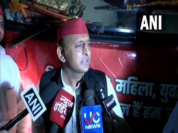Samajwadi Party chief Akhilesh Yadav speaking to reporters in Hamirpur on Tuesday.