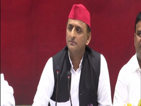 SP chief Akhilesh Yadav addressing a press conference in Lucknow on Friday. Photo/ANI