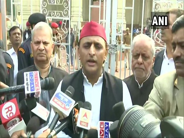 SP leader and former Chief Minister Akhilesh Yadav speaking to reporters in Lucknow on Saturday. Photo/ANI