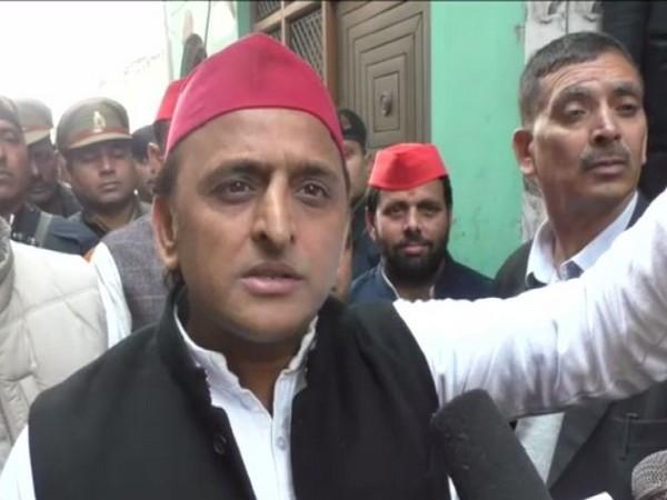 Samajwadi Party chief Akhilesh Yadav speaking to reporters on Monday.