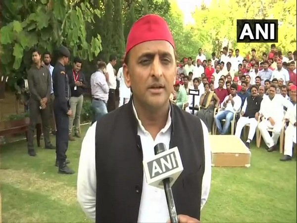 Samajwadi Party chief Akhilesh Yadav speaking to ANI in Saifai, Uttar Pradesh, on Monday.