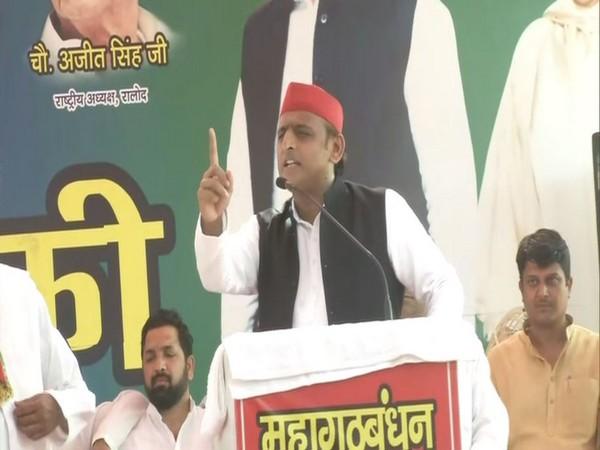 SP Chief Akhilesh Yadav speaking at an election rally in Ghaziabad, Uttar Pradesh, on Monday.