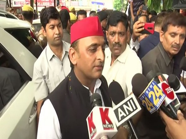SP leader Akhilesh Yadav speaking to reporters in Lucknow on Wednesday. Photo/ANI