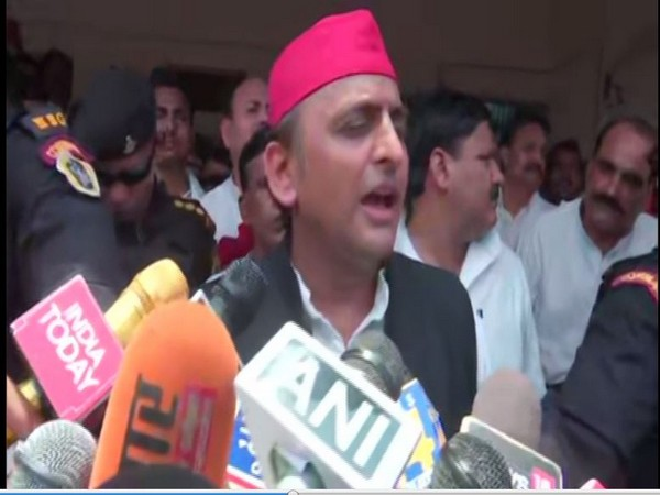 SP chief Akhilesh Yadav speaking to reporters at Ghazipur on Tuesday. (Photo/ANI)
