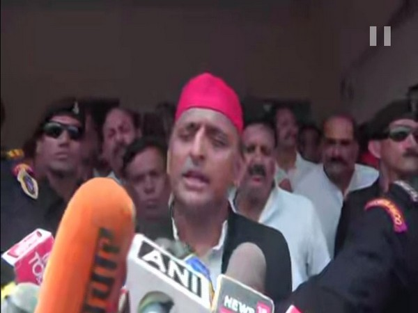 SP chief Akhilesh Yadav speaking to reporters at Ghazipur on Tuesday. Photo/ANI