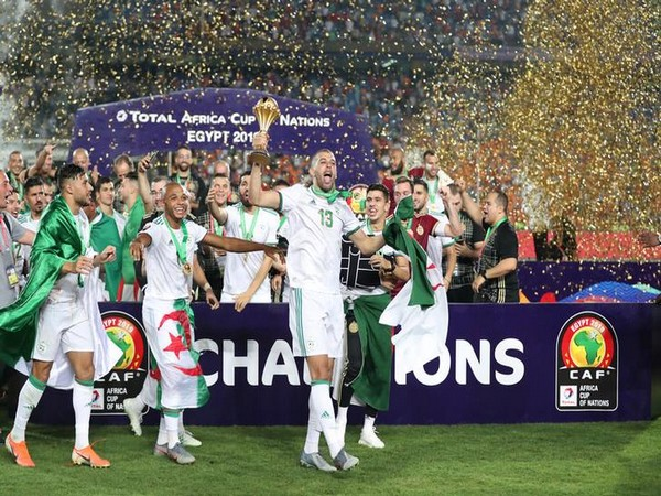 Algeria football team celebrates after winning AFCON