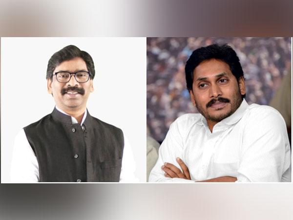 Visual of Jharkhand Chief Minister, Hemant Soren and Andhra Pradesh Chief Minister, YS Jaganmohan Reddy (right) (Photo/ANI)