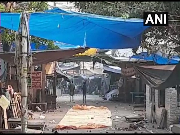 Visuals from the site in Aligarh where stone-pelting occured on Sunday. Photo/ANI
