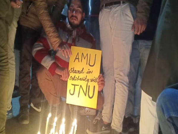 Visual from candle march carried out by students of Aligarh Muslim University (AMU) in Uttar Pradesh on Monday. Photo/ANI