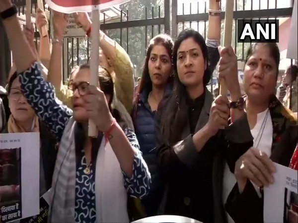 AIMC leaders, including Sushmita Dev and Alka Lamba, seen protesting outside Ministry of Petroleum and Natural Gas office here on Thursday.