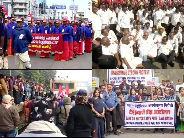Visuals of trade unions' Bharat Bandh