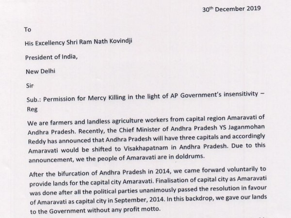 Clip of the letter written by the farmers of Amaravati region to the President of India. Photo/ANI