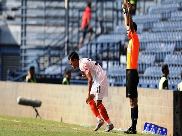Indian midfielder Amarjit Singh Kiyam in action.