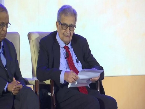 Economist and Nobel Laureate Amartya Sen speaking at an event in Bengaluru on Tuesday. Photo/ANI