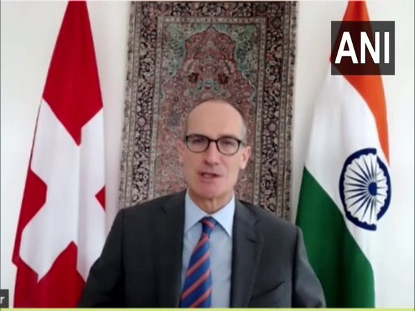 Swiss Ambassador to India Dr. Ralf Heckner speaking with ANI on Friday.