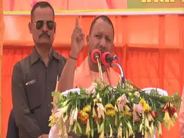 CM Yogi Adityanath addressing an election rally in Ambedkar Nagar on Tuesday. Photo/ANI