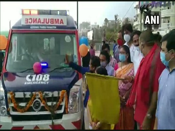 Andhra Pradesh Tourism Minister M Srinivasa Rao flags of 67 new ambulances in Visakhapatnam. Photo/ANI