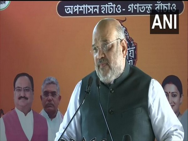 Union Home Minister Amit Shah addressing the people of Bengal in Howrah on Sunday via video conference. (Photo/ANI)
