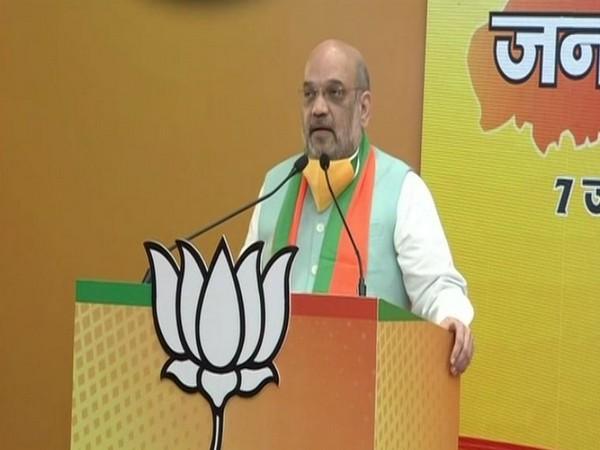 Union Home Minister Amit Shah addressing 'Bihar Jansamvad' virtual rally on Sunday. Photo/ANI
