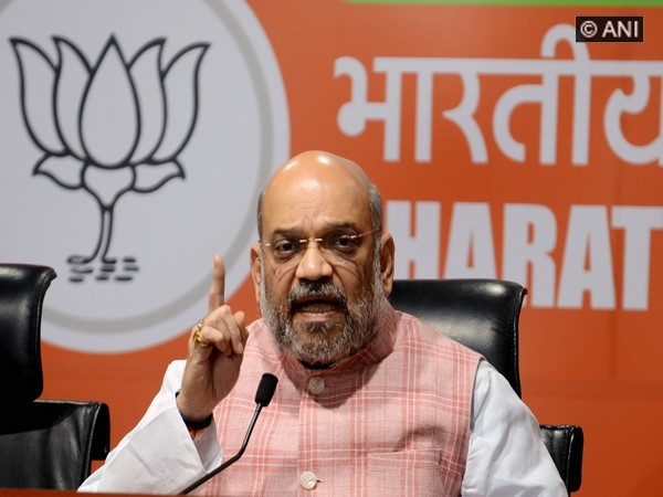 BJP president Amit Shah addresses a press conference at party headquarters in New Delhi on Friday [Photo/ANI]