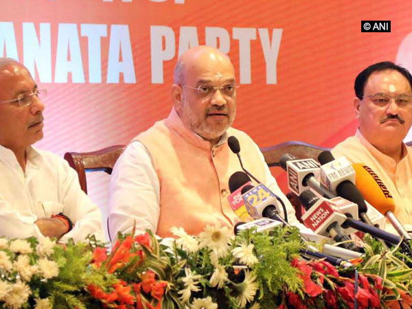 BJP president Amit Shah at a press conference in Varanasi on Tuesday. Photo/ANI