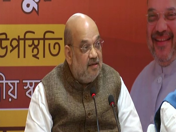 Union Home Minister Amit Shah speaking at a press conference in Birbhum on Sunday [Photo/ANI]