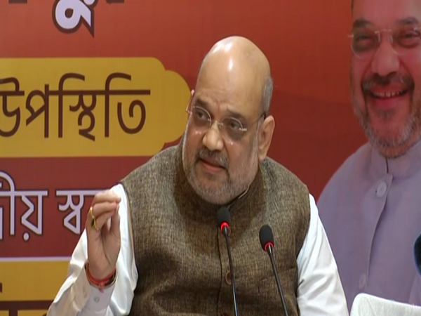 Union Home Minister Amit Shah speaking to reporters at a press conference in Birbhum on Sunday [Photo/ANI]