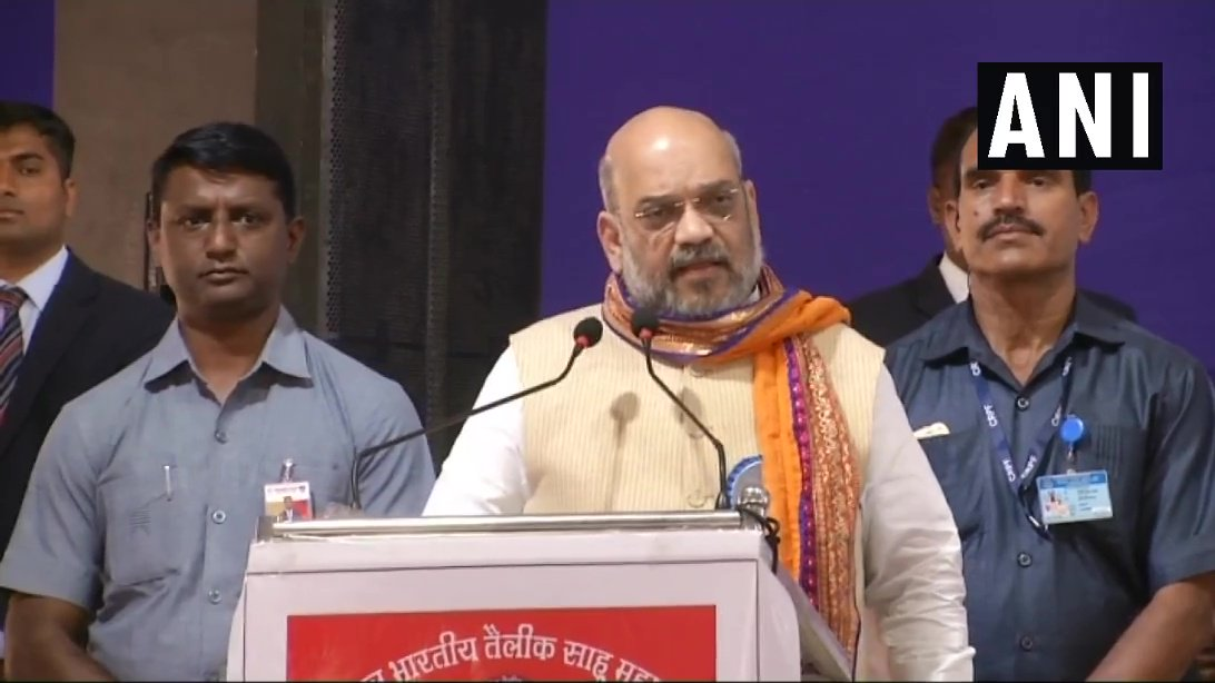 BJP president Amit Shah addressing an event in Surat