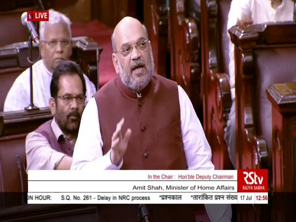 Union Home Minister Amit Shah while speaking at the Rajyasabha on Wednesday. (Photo/ANI)
