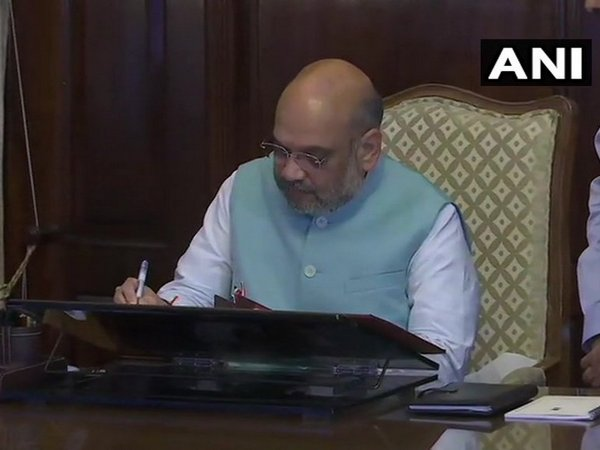 Union Home Minister Amit Shah taking charge of his ministry in New Delhi on Saturday.