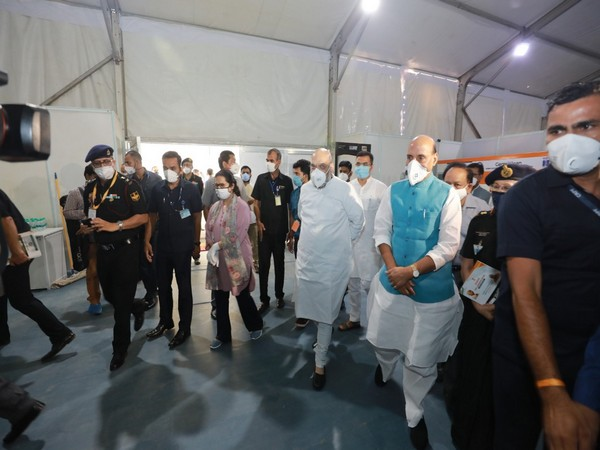 Amit Shah, Rajnath Singh visit the 1000 Bed including 250 ICU Beds Sardar Vallabh Bhai Patel COVID-19 Hospital in New Delhi on Sunday.