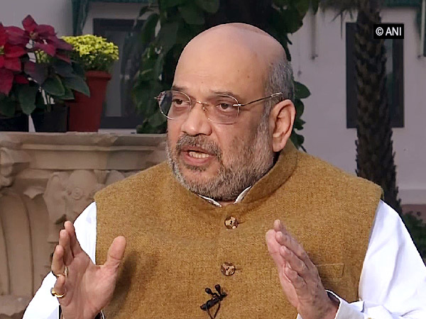 BJP chief and Home Minister Amit Shah talking to ANI exclusively in New Delhi on Wednesday. Photo/ANI