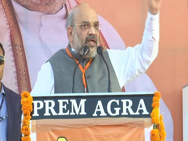 BJP chief Amit Shah addressing a public rally in Agra on Sunday. (ANI photo)