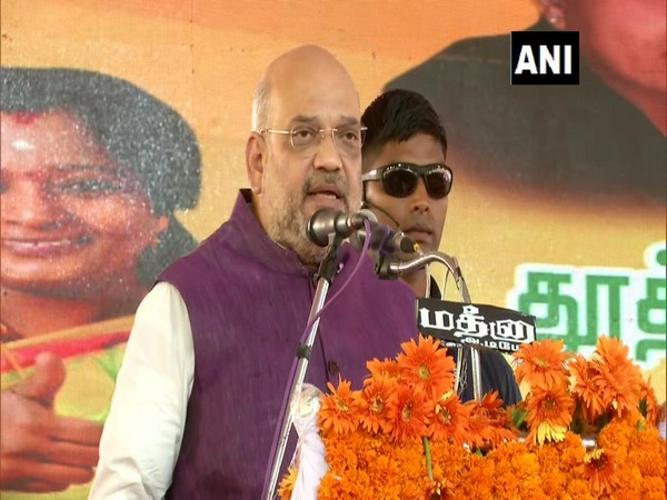BJP president Amit Shah addressing a rally in Tuticorin on Tuesday