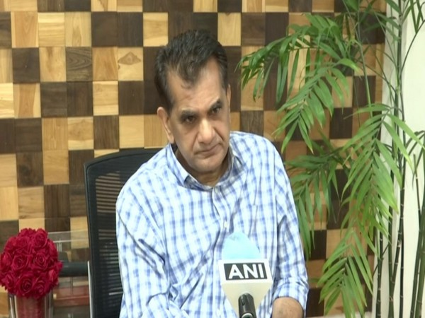 NITI Aayog CEO Amitabh Kant talking to ANI on Sunday over Indian economy recovery post-COVID-19 pandemic (ANI)