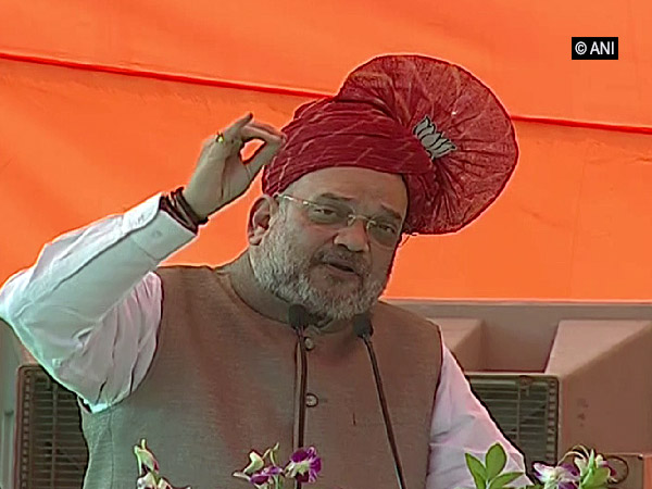 Union Home Minister and  BJP chief Amit Shah addressing an election rally in Panipat, Haryana, on Wednesday. Photo/ANI